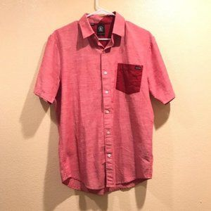 Volcom Red Color Block Button Down Shirt